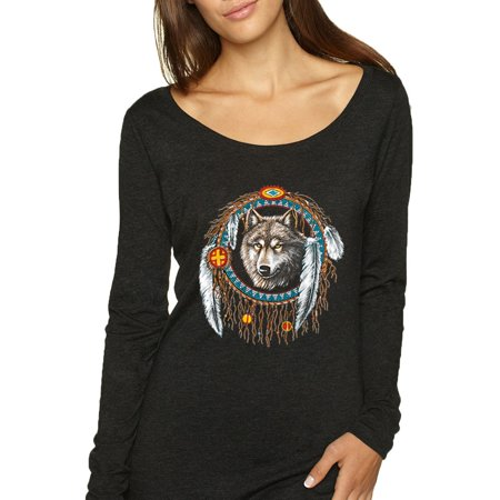 Wolf in Dream Catcher Animal Lover Womens Scoop Long Sleeve Top