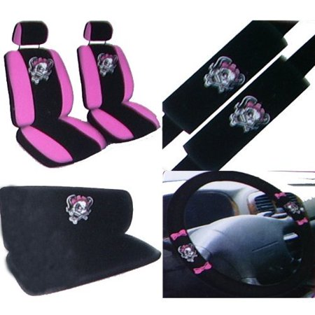 11PC Pink Lady Skull Auto Accessories Interior Combo Kit Gift Set