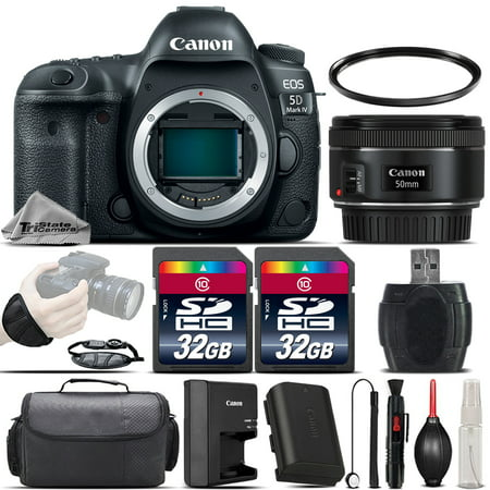 Canon EOS 5D Mark IV DSLR GPS WiFi NFC Camera + 50mm 1.8 STM Lens - 64GB - Ems Gps