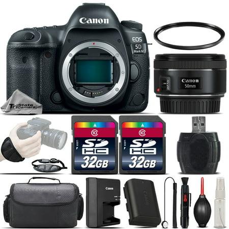 Canon EOS 5D Mark IV DSLR GPS WiFi NFC Camera + 50mm 1.8 STM Lens - 64GB Kit