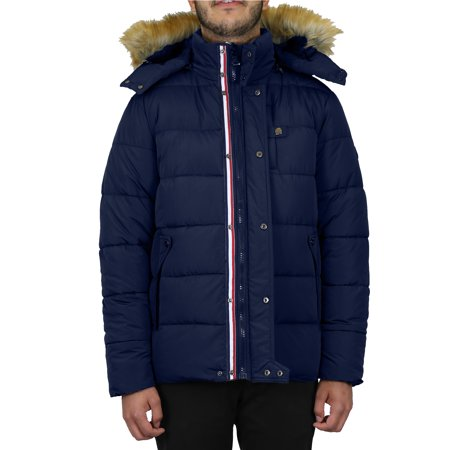 Mens Heavyweight Hooded Parka Jacket With Stripe Trim (Mens Leather Jacket Striped)