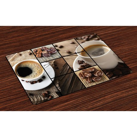 Brown Placemats Set of 4 Coffee Themed Collage Close Up Mugs Beans on Wooden Table Aromatic Roasted Espresso Drink, Washable Fabric Place Mats for Dining Room Kitchen Table Decor,Brown, by - Halloween Themed Espresso Drinks