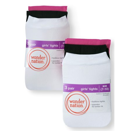 Footless Tight Set (Wonder Nation Footless Opaque Tights, 6 Pairs (Little Girls & Big Girls))