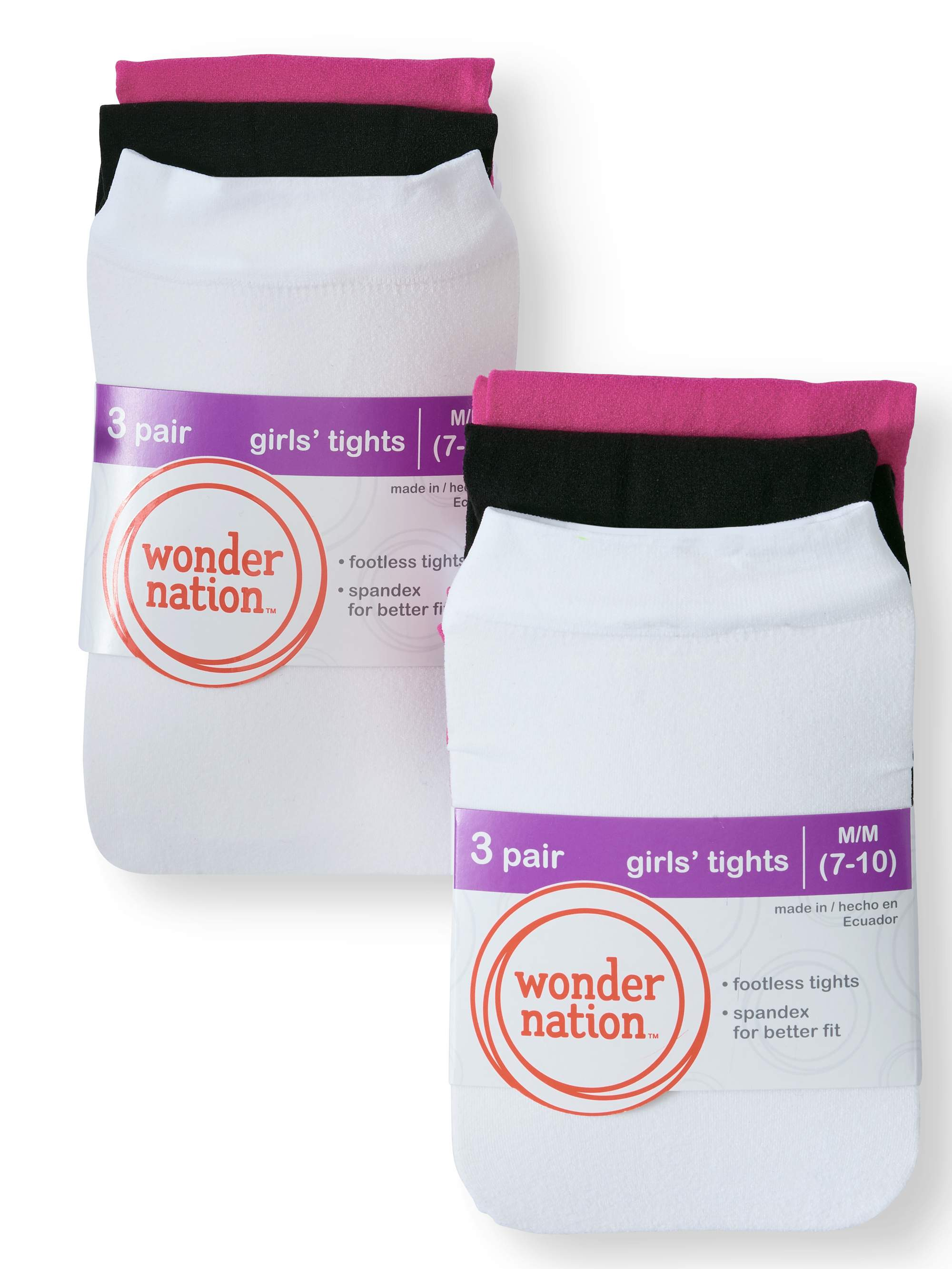 Wonder Nation Footless Opaque Tights, 6 Pairs (Little Girls & Big Girls)