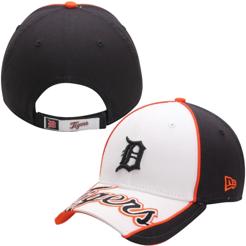 Detroit Tigers New Era Word Stamped 9FORTY Adjustable Hat - White - OSFA
