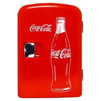 Classic Coca Cola 4 Liter/6 Can Portable Fridge/Mini Cooler for Food, Beverages, Skincare - Use at Home, Office, Dorm, Car, Boat - AC & DC Plugs Included