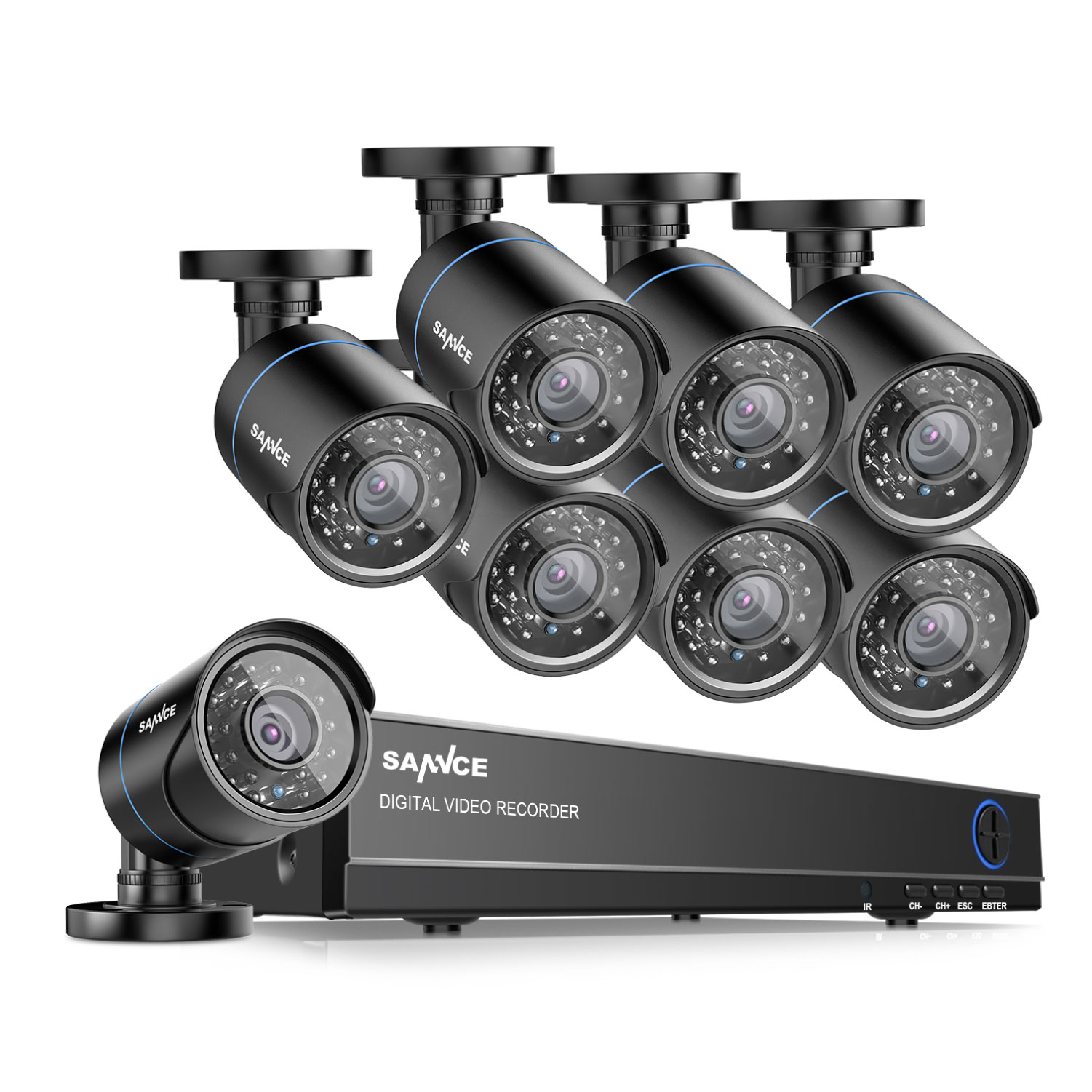SANNCE 8CH 960H HD DVR 8pcs 720P IR outdoor CCTV Home Security System Cameras Surveillance Video Kits With Motion Detection NO Hard Drive Disk