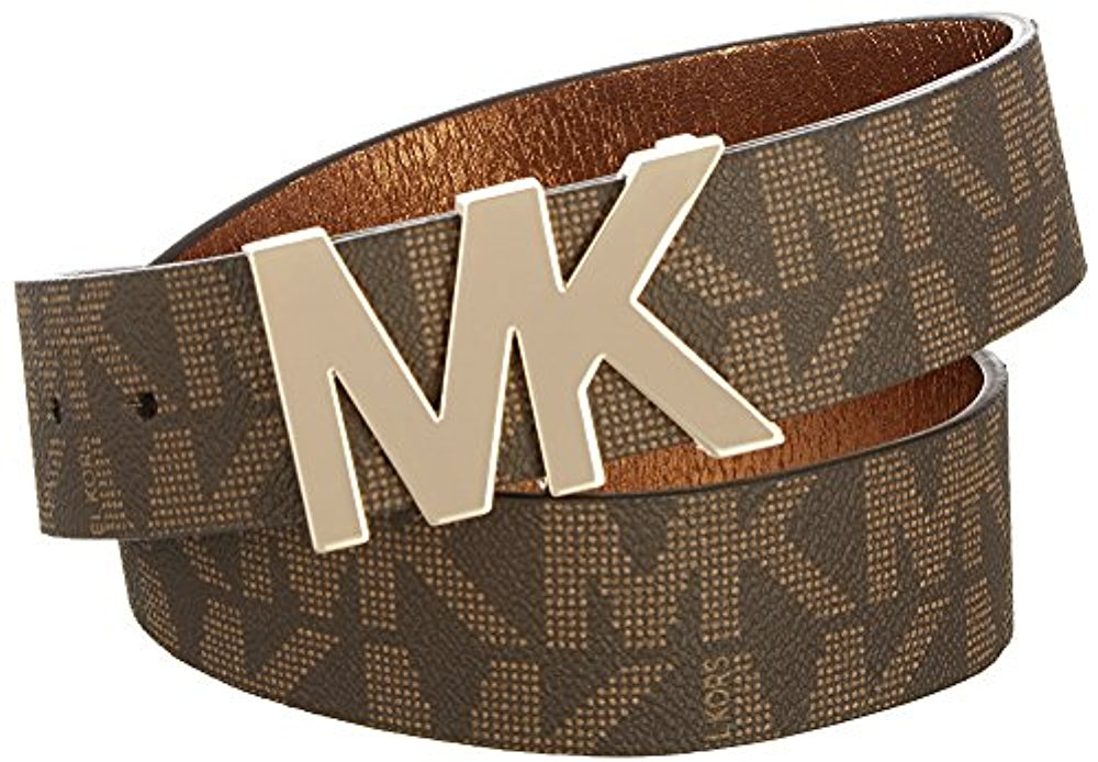 Michael Kors Signature Logo Belt with MK Logo Plaque Brown Extra Large by Michael Kors