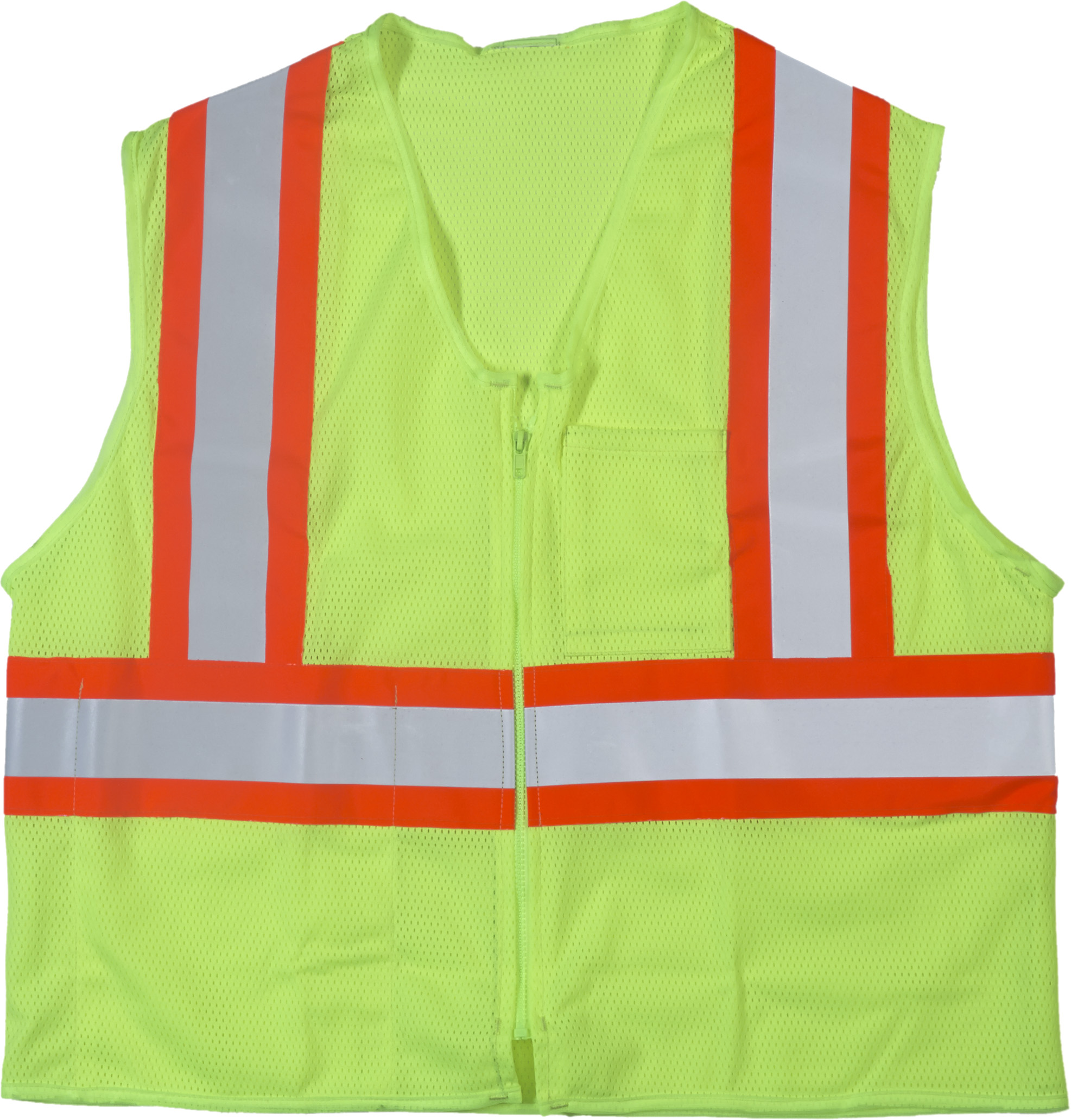 "High Visibility ANSI Class 2 Safety Vest with 1 Outside and 1 Inside Pocket and 4"" Orange/Silver/Orange Reflective Tape, Small/Medium, Lime"