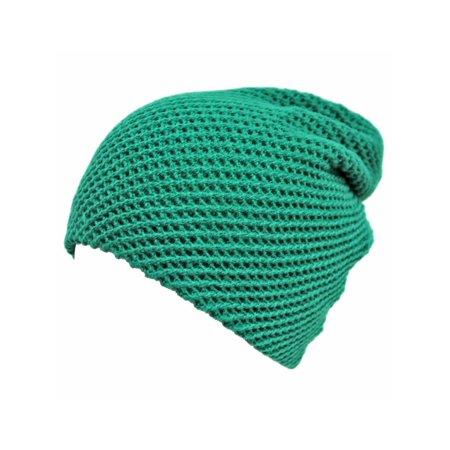 Green Waffle Knit Slouchy Beanie Cap Hat