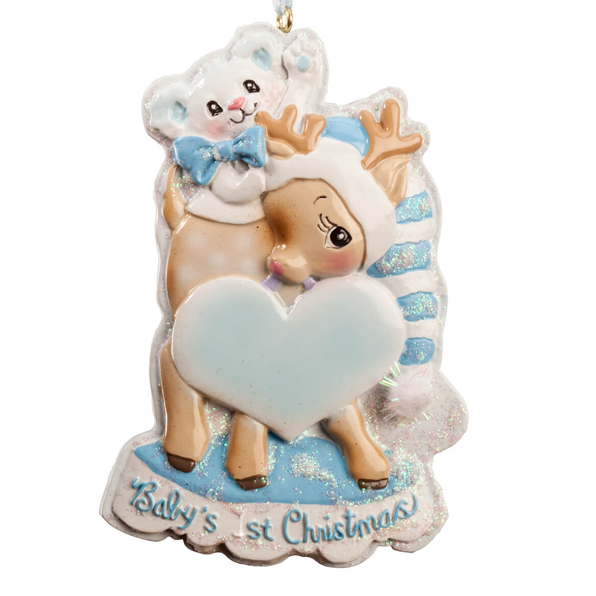 Baby's First Christmas Deer Ornament, Blue