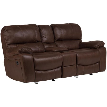 Corvallis Leather-Look Microfiber Reclining Gliding Console Loveseat - Brown