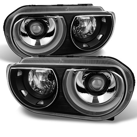 Fit 2008-2014 Dodge Challenger Replacement Black HID Type Headlights lamp -