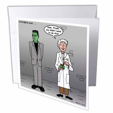 3dRose Fathers Day with Dr Frankenstein and his monster, Greeting Cards, 6 x 6 inches, set of 6