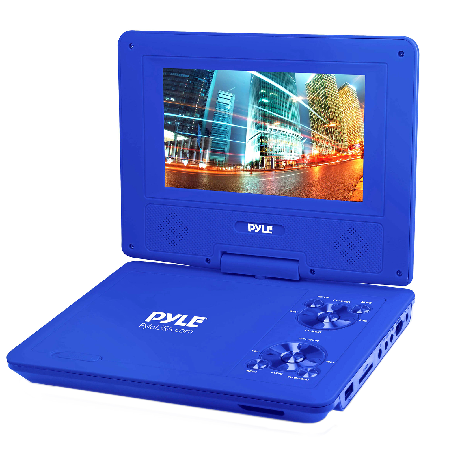 """9"""" Portable CD/DVD Player, Built-in Battery, USB/SD Card Memory Readers (Blue)"""