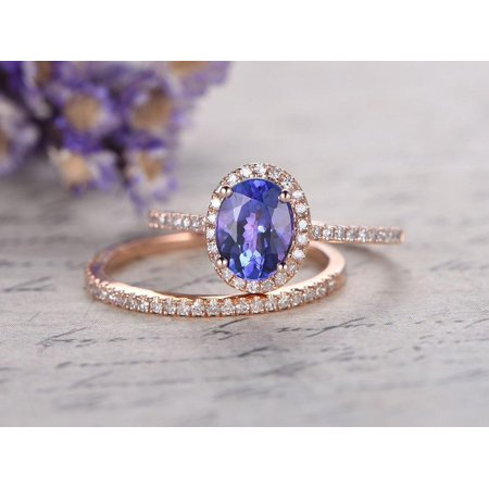 bc34d6e58e3385 JeenMata - 1.5 Carat Oval cut Real Tanzanite and Diamond Wedding Ring Set  with Engagement Ring and Matching Wedding Band in18k Gold Over Silver -  Walmart. ...