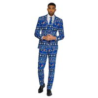 Blue and White Merry Mario Printed Men's Adult Christmas Suit - Extra Large