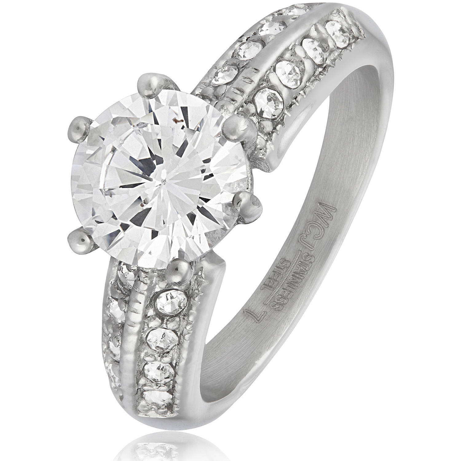 Women's Stainless Steel Polished CZ Band Ring