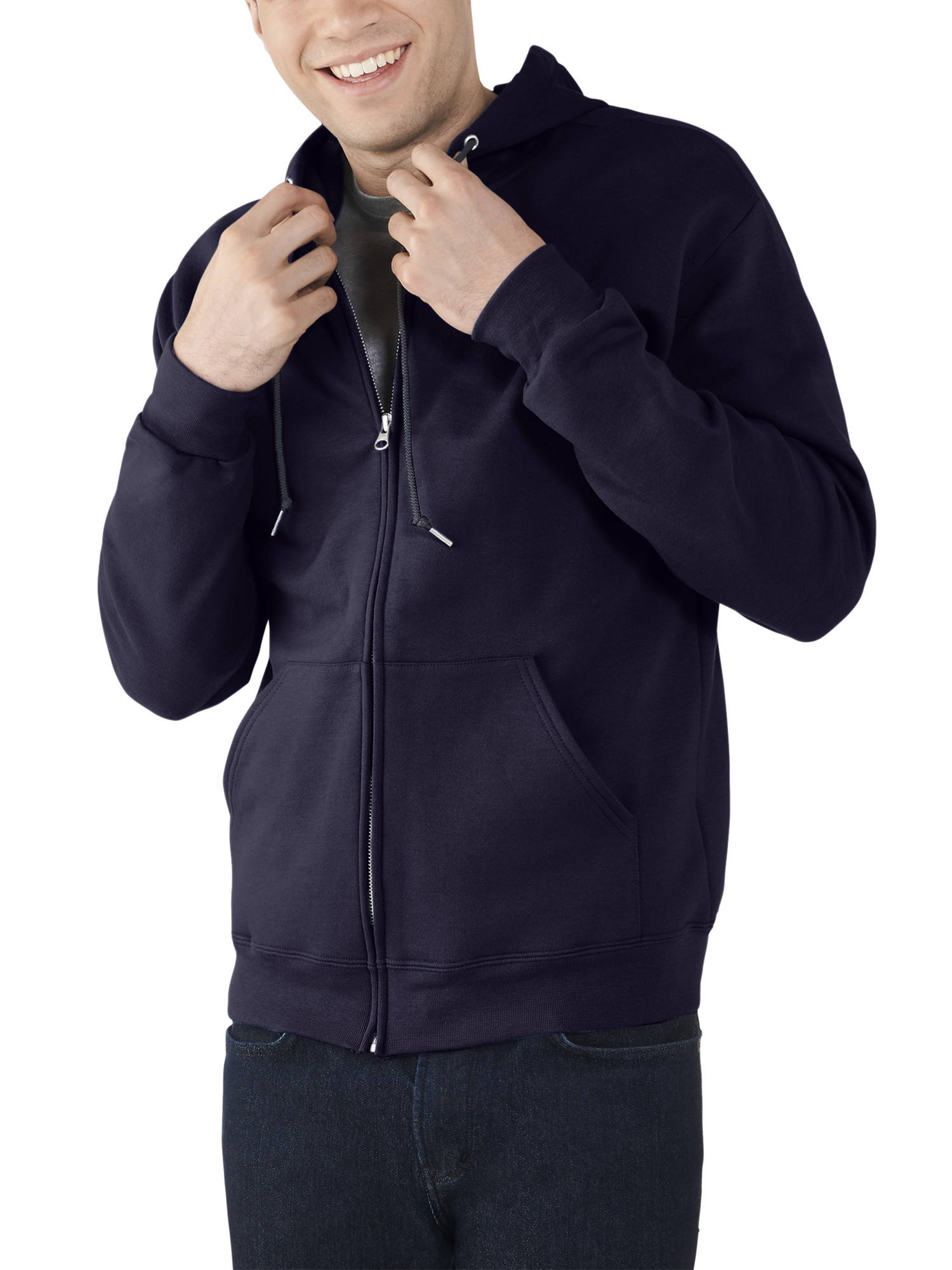 Fruit of the Loom Best Collection Mens Fleece Full Zip Hood 3XL Navy Blue