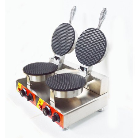 INTBUYING Double Station Ice Cream Cone Machine Electric Waffle Maker with Dual Baker 022106 ()