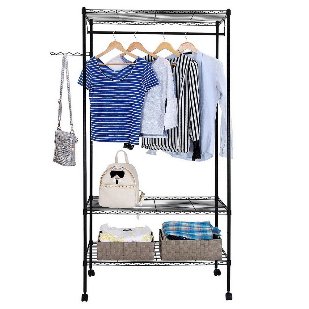 Zimtown Closet System Storage Organizer Garment Rack Portable Clothes Hanger Dry Shelf