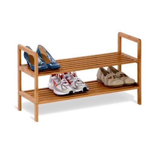 """Honey-can-do Sho-01600 2-tier Bamboo Shoe Storage Rack - 15.8"""" Height X 27.5"""" Width - 16 X Shoes - 2 Tier[s] - Bamboo (sho-01600)"""