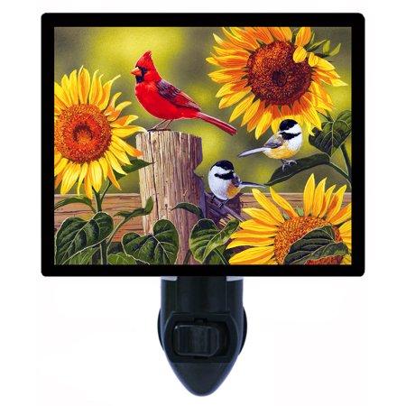 Cardinal Night Light - Night Light - Photo Light - Sunflowers and Songbirds - Cardinal - Chickadee