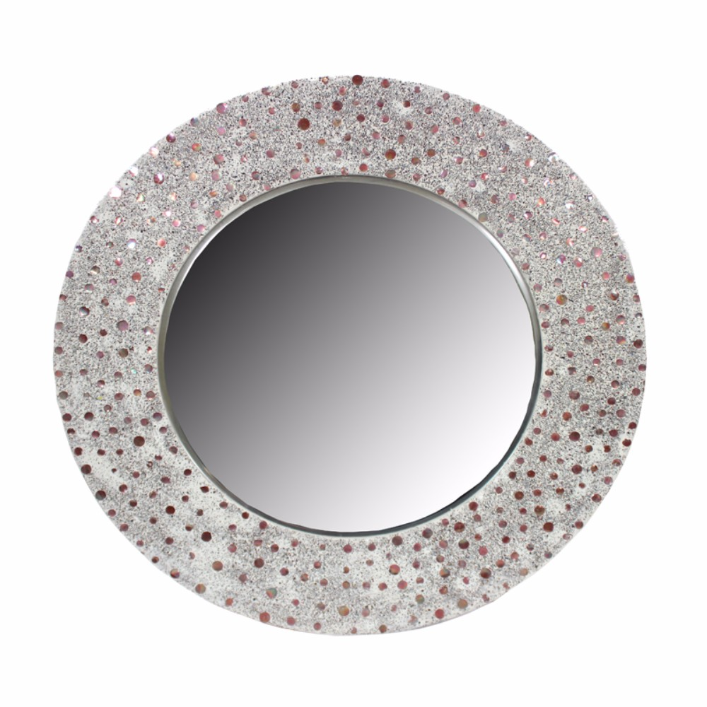 Captivating Round Glass Mirror With Mosaic Motif Frame, Silver by Benzara