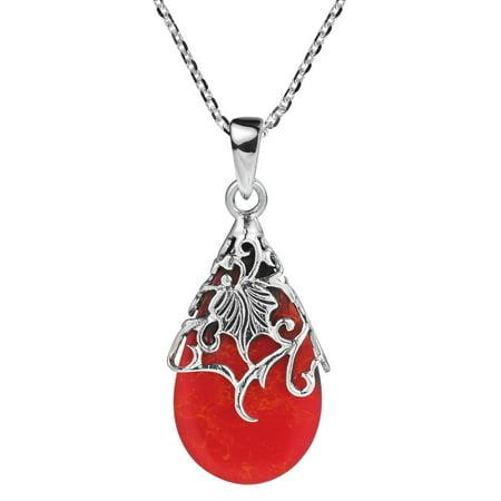 Vintage Floral Vine Adorned Teardrop Reconstructed Red Coral .925 Sterling Silver Necklace (Sterling Silver Vine Necklace)