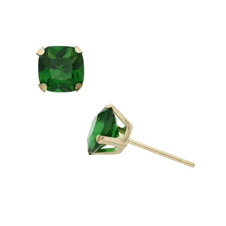 2 Carat T.G.W. Created Emerald 10kt Yellow Gold 6mm x 6mm Cushion-Cut Post (Emerald Wedding Earrings)