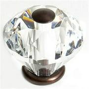 JVJHardware 36512 Pure Elegance 30mm - 1. 19 inch - Diamond Cut 31 Percent Leaded Crystal Knob - Old World Bronze