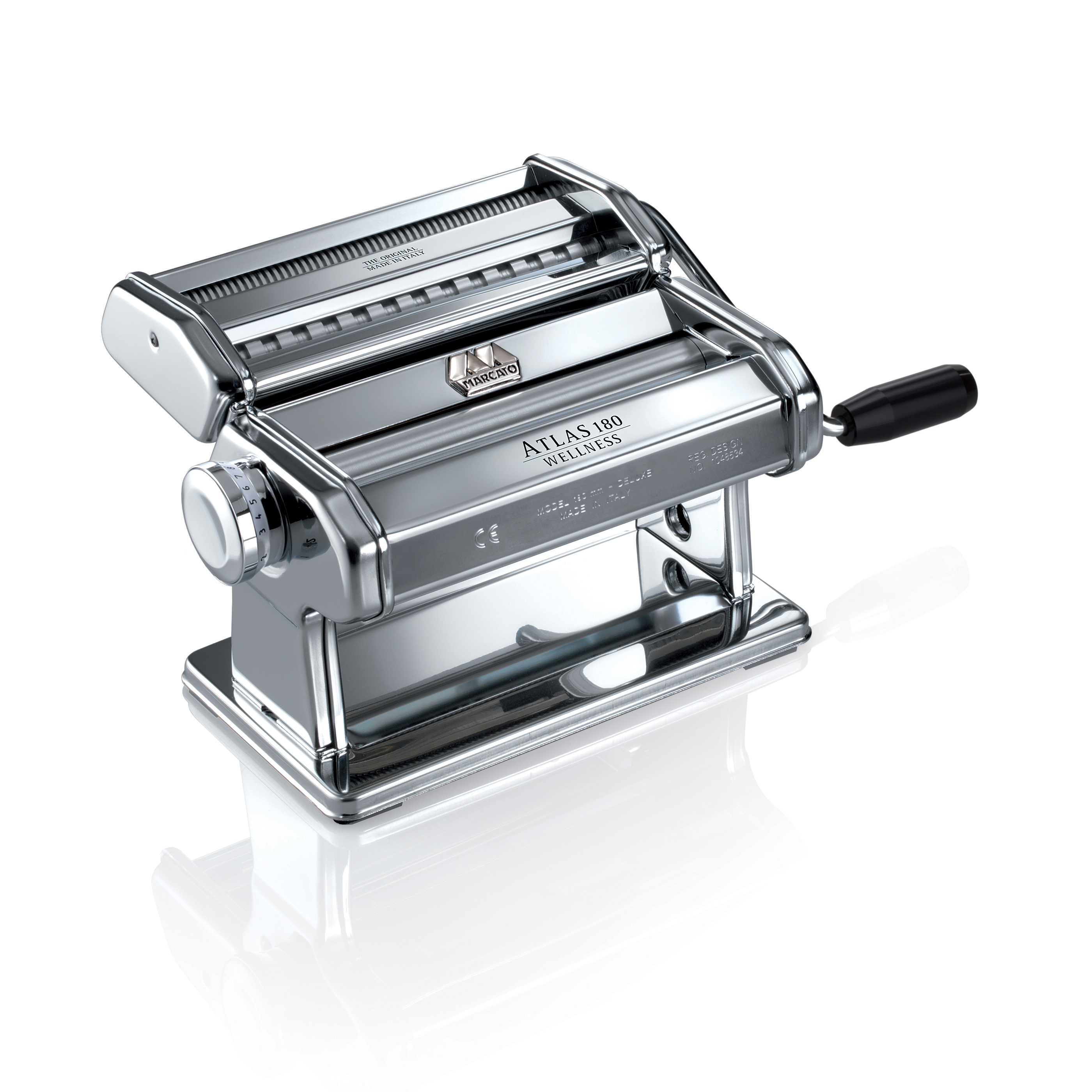 Atlas Made in Italy Pasta Machine, Stainless Steel, Silver, Includes 180-Millimeter Pasta Machine with Pasta Cutter, Hand Crank, and Instructions, 10-Year Warranty