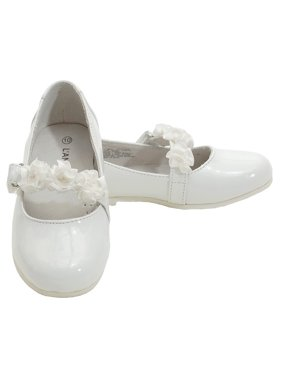 Little Girls White Patent Floral Dress Shoe Toddler Girl 5T-2