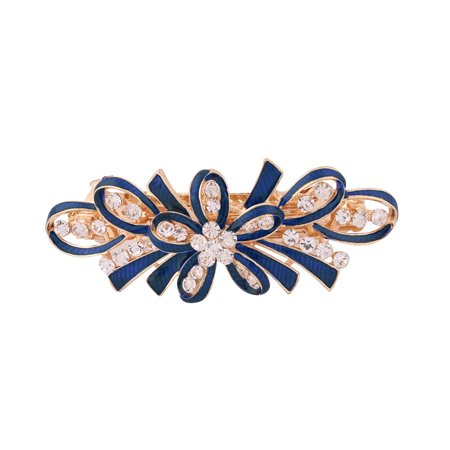 Lady Metal Bowknot Design Faux Rhinestones Inlaid Hairwearing Hair Clip Blue