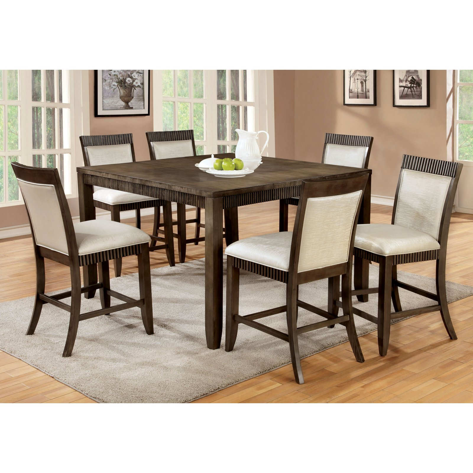 Furniture of America Midkiff Transitional Counter Height Wood Dining Table