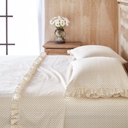 - The Pioneer Woman Twin Polka Dot Ruffle Sheet Set, Yellow