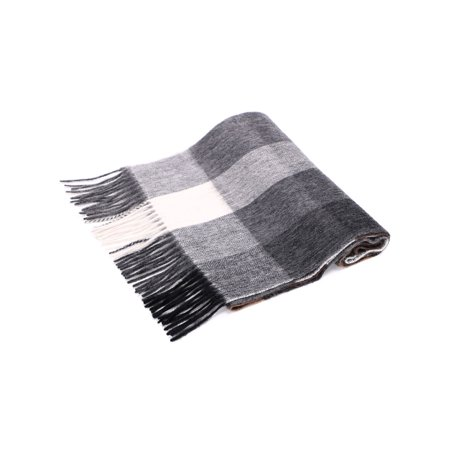 Women's Super Soft Cashmere Scarf with Gift Box, Black White Grey Plaid