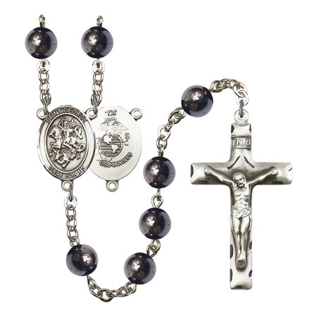 Rosary Turquoise Medal (St. George / Marines Silver-Plated Rosary 8mm Hematite Beads Crucifix Size 1 3/4 x 1 medal charm )
