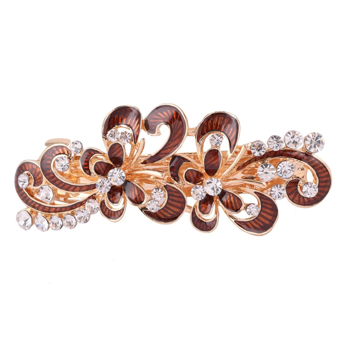 Ladies Metal Flower Design Faux Rhinestones Hairstyle Hair Clip Coffee Color