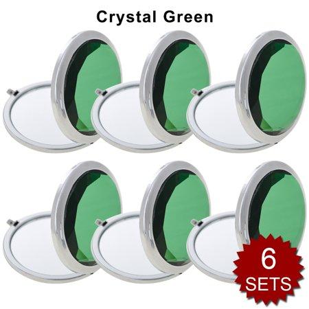 - GOGO 6 Sets/Pack Makeup Pocket Compact Mirror With Gift Box, Best Wedding Bridesmaid Gifts-Crystal Green 6SETS