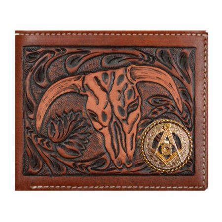 Custom Masonic Square and Compasses Cow Skull Leather Bifold Wallet