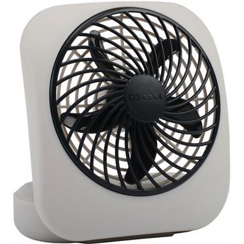 "O2Cool 5"" Battery-Operated Fan, Grey"