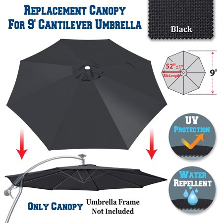 Sunrise 9ft 8 Ribs Outdoor, Patio Cantilever, Hanging Umbrella Cover  Canopy, Replacement Cover Top, Black (Cover Only, Umbrella Frame not  Included)