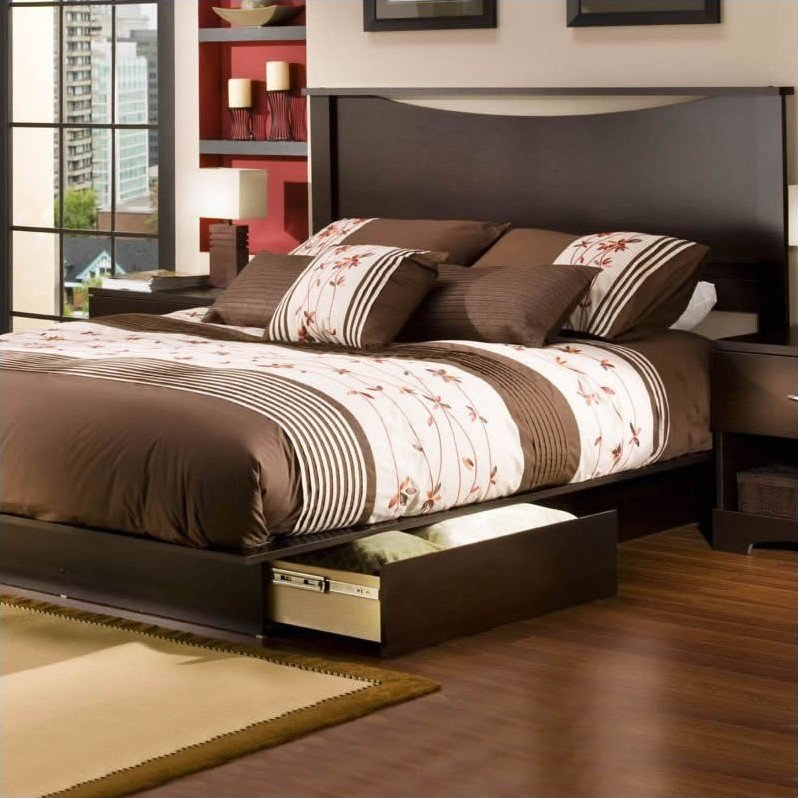 South Shore Back Bay Queen Storage Platform Bed Set in Dark Chocolate Finish by South Shore