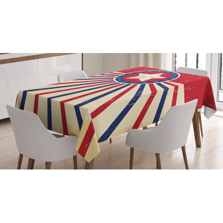Texas Star Tablecloth, Vintage Stripes and Grunge Liberty and Freedom Themed USA Image, Rectangular Table Cover for Dining Room Kitchen, 60 X 90 Inches, Vermilion Beige Navy Blue, by Ambesonne