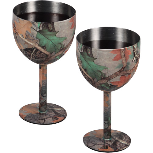 Rivers Edge Products CB Camo Wine Glass 2-Piece Set
