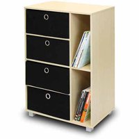Furinno 11159SBE/BK Multipurpose Storage Cabinet with 4 Bin Drawers