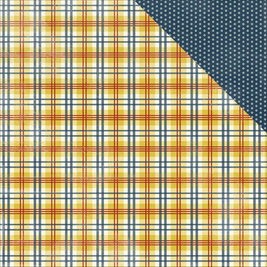 "Homestead Double-Sided Cardstock 12""X12""-Traditional Country Plaid/Mono Navy Dot"