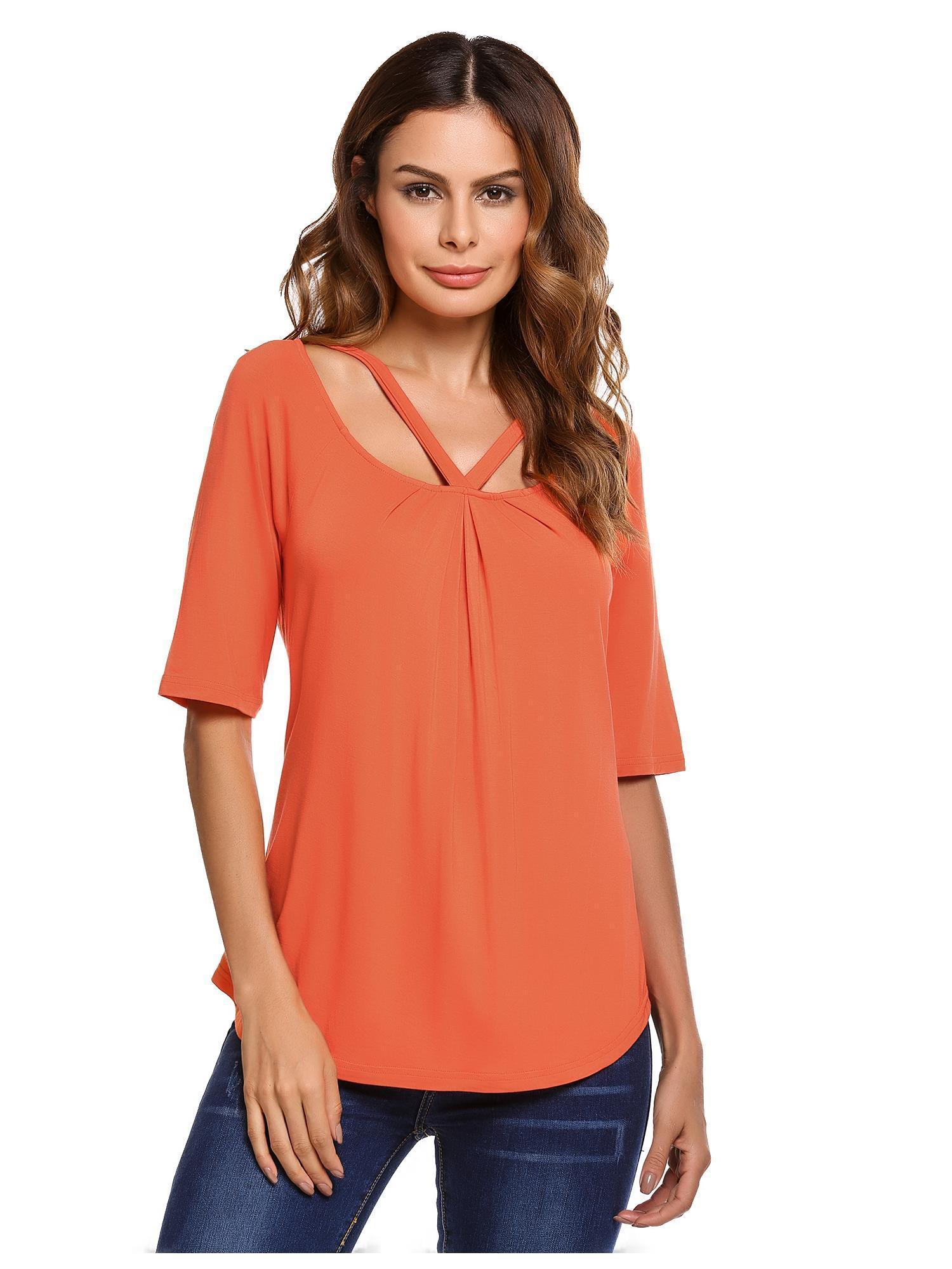 2018 The Newest Women Cut Out Half Sleeve Front Draped Solid Casual T-Shirt Tops HFON