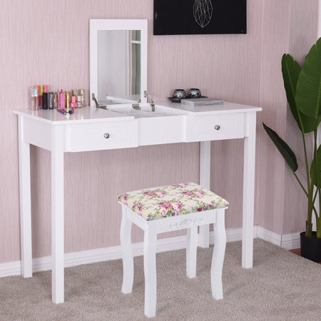 Goplus Vanity Table Dressing Table Flip Top Desk Mirror 2 Drawers